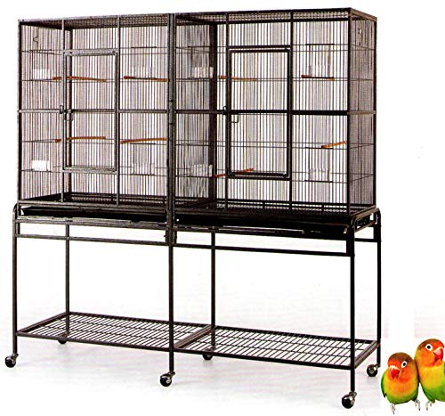 """Mcage Large Double Flight Bird Wrought Iron Double Cage w/Slide Out Divider 3 Levels Bird Parrot Cage Cockatiel Conure Bird Cage 63"""" Lx19 Dx64 H W/Stand on Wheels (63"""" Lx19 Dx64 H, Black Vein)"""