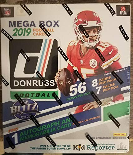 2019 Donruss Football NFL Trading Cards MEGA Box 56 Cards in all 1 AUTO OR MEMORABILIA. 7 RATED ROOKIES Chase Rookie Cards of Kyler Murray, DK Metcalf, ,Daniel Jones, Drew Lock and Josh Jacobs. Three exclusive BRONZE Parallel Rookies in each box