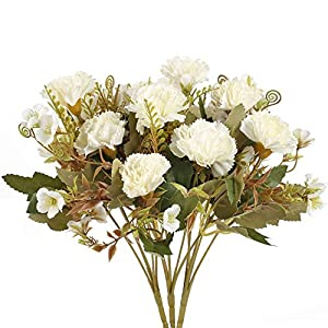 AILANDA 3PCS Silk Flowers Bouquet Artificial Flowers Carnations White Fake Floral Arrangement for Valentine's Day Gift Home Table Wedding Greenery Centerpieces