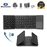 Bluetooth Foldable Keyboard, Slim and Compact Energy-saving Wireless Keyboard with Touchpad for Android/Windows/Mac/iOS/iPadOS