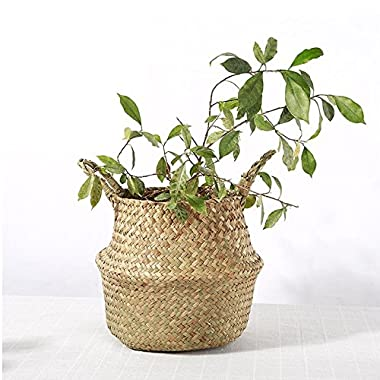 Seagrass Storage Basket, WCIC Natural Woven Hanging Basket With Handle Flower Pot Vase 8.26 x9.44