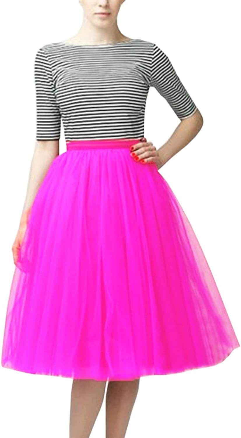 WDPL A Line Short Knee Length Tutu Tulle Prom Party Skirt Large Hot Pink