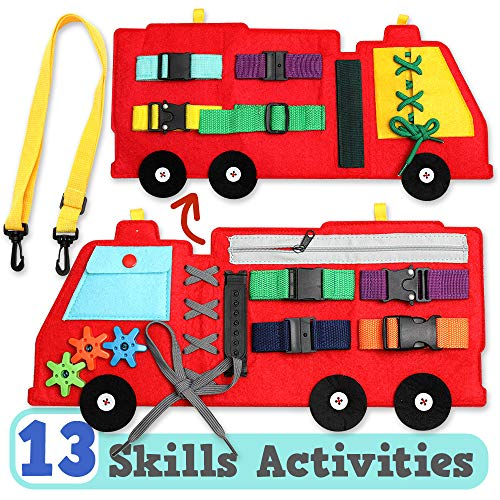 13 in 1 Fire Truck Busy Board Toys for Toddler 1 2 3 4 Years Old, Fine Motor Skills Montessori...
