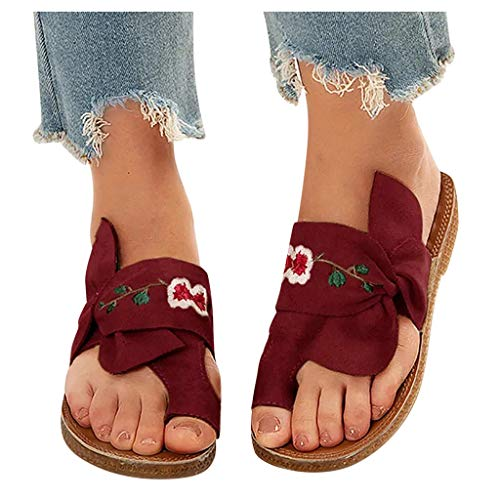 Sandals for Women Wide Width Ladies Casual Bowknot Toe Ring Sandals Flat Slippers Summer Beach Roman Shoes (US:8.5, 1-Red)