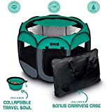 Ruff'n Ruffus Portable Foldable Pet Playpen + Carrying Case & Collapsible Travel Bowl (Extra Large (48' x 48' x 23.5')) (Medium (29' x 29' x 17') with Free Bonus, Aqua)
