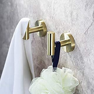 UMIRIO Gold Towel Hooks Bath Wall Hooks Stainless Steel Single Coat/Robe Clothes Hook Shower Hook Kitchen Cabinet Closet H...