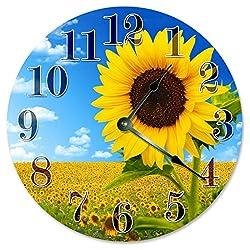 Sugar Vine Art Sunflower Field Clock Beach Clock Large 10.5 Wall Clock Decorative Round Circle Clock Home Decor Novelty Clock Yellow, Green Leaves