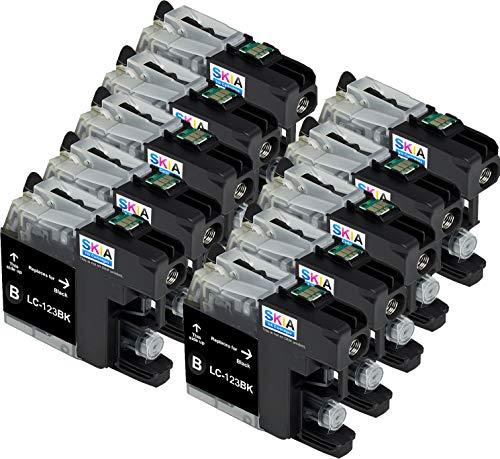 Skia Ink Cartridges – Cartucho de tinta refabricado para usar en lugar de Brother LC123 (Negro pack de 6)