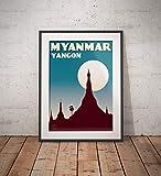 AZSTEEL Vintage Poster Myanmar – Yangon – Shwedagon