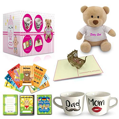 Mia Mio - Geschenk zur Geburt/Baby Geschenkset | Tassen + 40 Meilenstein Karten+ Teddybär + Grußkarte (Rosa)