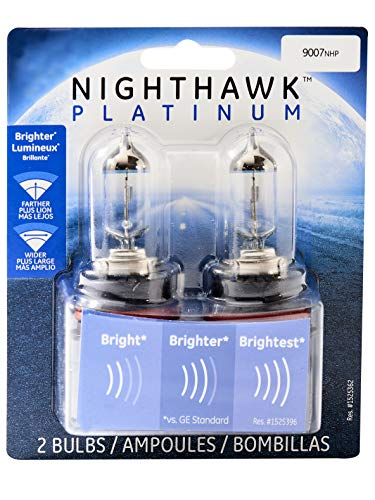 GE Lighting 9007NHP/BP2 Nighthawk Platinum Halogen Headlight Bulbs, 2-Pack