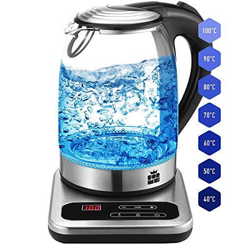 ForMe Glas Wasserkocher 1.7 LED nur Blau Temperaturwahl 40-100°C Temperatur einstellbar Glaskessel I Glaswasserkocher Edelstahl Boden I Teekessel mit Warmhaltefunktion I BPA Frei