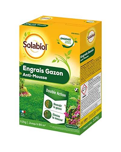SOLABIOL SOGAZMOU80 Engrais Gazon Anti-Mousse Double Action 80m2, Etui 3,2 kg