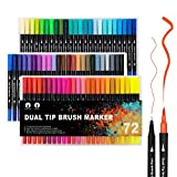 Dual Brush Art Markers for Coloring,72 Dual Tip and Fine Point Colored Markers,Bullet Journal Pens for Adult Coloring Books Planner Calligraphy,Drawing Writing Lettering,Art Supplies