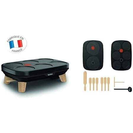 Téfal PY900812 Gourmet crêpière Deux plaques amovibles antiadhésives Température règlable Multi usage crêpes - Noir