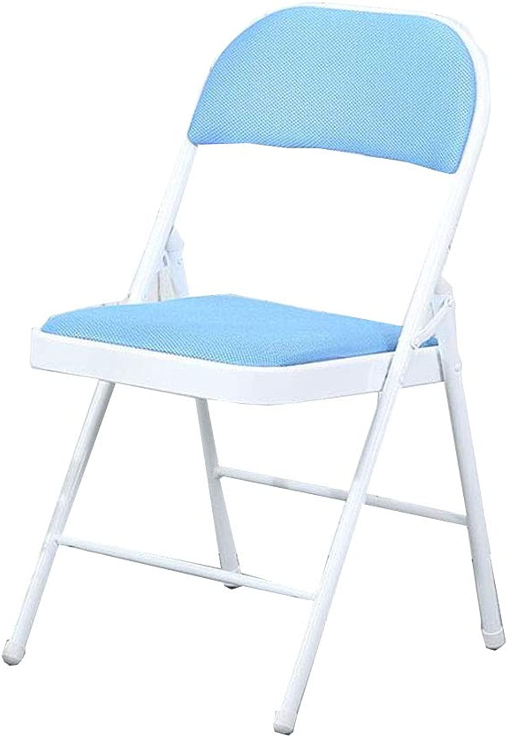 Household Folding Chair Meeting Training Dormitory Computer Simple Stool(47  45  88cm) (color   bluee)