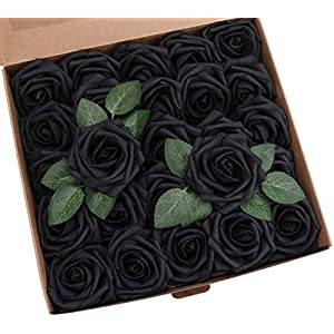 HIDARING Artificial Flowers Realistic Fake Foam Roses w/Stem for DIY Wedding Bouquets Decorations Baby Shower Party Home and Christmas Tree (50 Pcs, Black)
