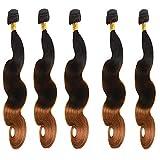 New Synthetic Hair Body Wave 5 Bundles 300Gm Same Texture As Human Hair Synthetic Hair Bundles Full Head Soft Hair Weft (#1b/30)