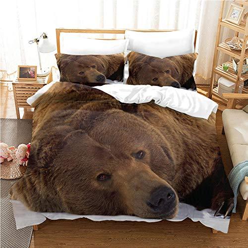 Juego de funda de edredón Super King Size 220 x 230 cm + 2 fundas de almohada a juego, diseño de oso marrón animal, funda de edredón de microfibra hipoalergénica suave con cierre de cremallera, fácil cuidado y juego de cama súper suave