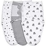 GLLQUEN BABY Swaddle Blankets for Baby Boy Girl, Gray Elephant Star & Stripe, 3 Pack Wrap Set, Newborn Adjustable Swaddles Sleep Sack, 0-3 Months (Small/Medium)