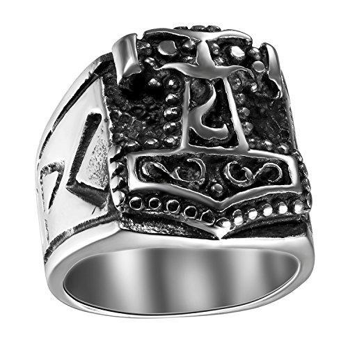 JewelryWe Schmuck Biker Herren-Ring, Edelstahl, Thors Hammer Siegelring, Schwarz Silber - Größe 65