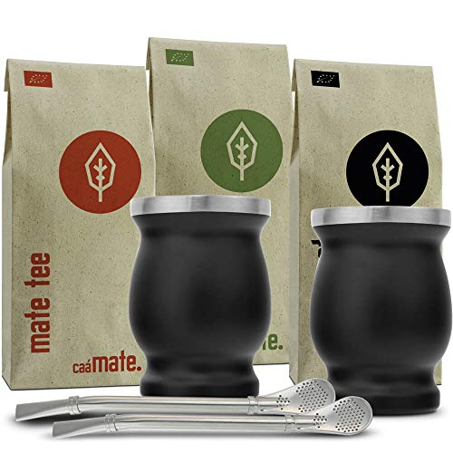Mate Tee Set Bio ● 3 Matesorten + 2 doppelwandige Edelstahl Matebecher + 2 Bombillas + Zubereitungsanleitung (schwarz)