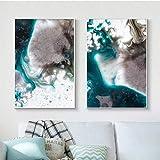 ganlanshu Pintura al óleo Abstracta Azul Marino de la Onda en Lona en Arte de la Pintura de la decoración de la Sala de Estar,Pintura sin Marco,50X75cmx2