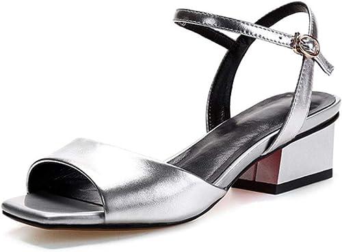 Sandales pour pour Femmes, Chaussures en Cuir à la Bouche en Cuir de Poisson épaisses Version coréenne avec Une Semelle de Tendon doublée de Peau de 4cm (Couleur   argent, Taille   34)  marques de mode