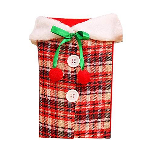 lennonsi Weihnachten Weinflasche Deckt Wein Set Bow Plaid simuliert Leinen Kleidung Flasche Abdeckung Weihnachten Tischdekoration Weinflasche Dekor Wohnkultur