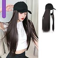 """人工毛帽子22""""長い巻き毛の波状のヘアピース調節可能な野球帽は女性の女の子のための自然なかつらを取り付けました A"""