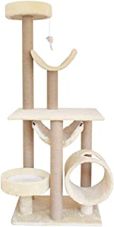 Mopoq Multi-layer Cat Tree with Sisal Covered Scratching Posts With Platform Hammock Tunnel With Dangling Plush Mice Toy P...
