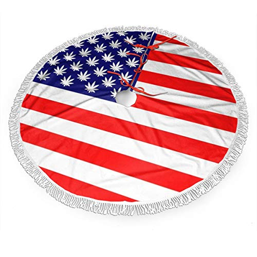 Weed Us Flag Christmas Tree Skirt Gorgeous Edge Tassel Lace for Xmas Ornaments Decoration Accessory Gift