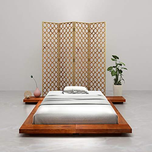 Susany Estructura para futón japonés Madera Maciza de Acacia 120x200 cm Marco de la Cama