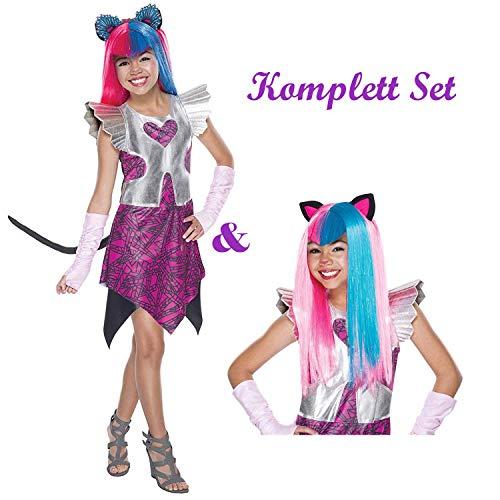 Savahe Monster High Catty Noir Kostüm & Perücke Komplett Set / Karneval Mädchen Katze Party (122/128)