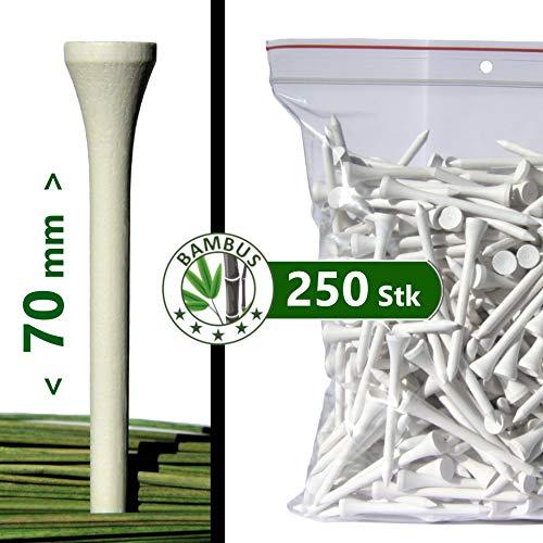"""Premium Golf TEES - 70 mm (2 3/4\"""") - 250 Stück - 100{63cbaf3a72f587ef3dfcaa3e557fc3f8334c527b932e3d1dcaaab8e11b08a1fc} Bambus - Farbe: weiß"""