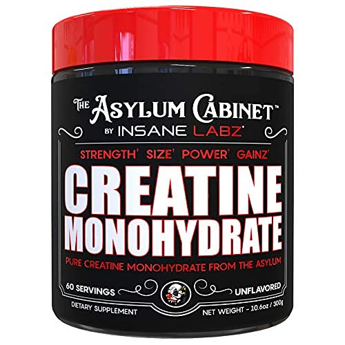 Insane Labz Insane Creatine Monohydrate Powder - Unflavored, Pre Workout, Post Workout, Strength Size Power ,11.1 oz 60 Srvgs