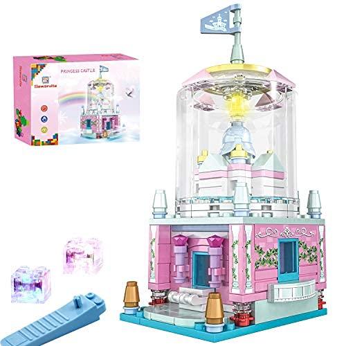 Juguetes de bloques de construcción para niñas, juguetes de castillo de princesa para niñas de 6 años en adelante, juego de construcción de tallo para niñas, rosa..