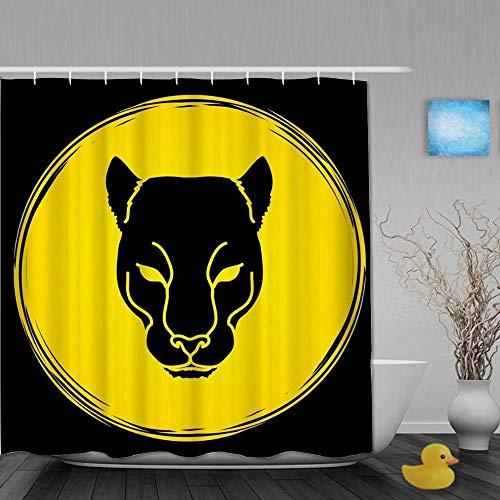 Dekoration Duschvorhang Black Panther Head Badvorhänge mit Leopardenmuster Wasserdichter Stoff Baddekor Set mit Haken