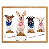 Pug Chihuahua Jack Russell Dog Dinner Photo Art Print Framed Poster Wall Decor 12x16 Inch Fotografía Póster Pared