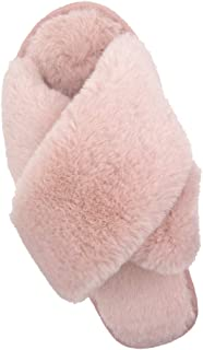 Womens House Slippers Cross Band Fuzzy Slippers Cozy Soft Warm Bedroom Shoes