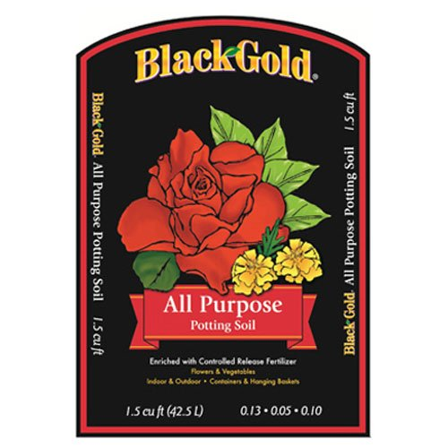 SunGro Black Gold All Purpose Potting Soil Fertilizer Mix for House Plants, Vegetables, Herbs and More, 2 Cubic Feet Bag
