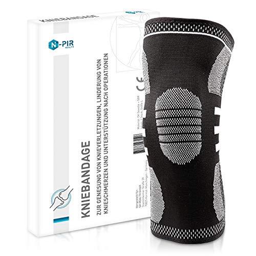 N-PIR Premium Kniebandage für Damen und Herren | Verbessertes Konzept 2020 | Stabilisation für Sport Beruf Freizeit | Knieorthese 2.0 | M