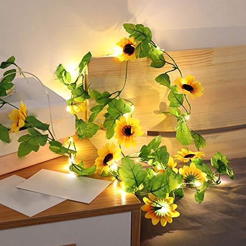 Girasol Guirnalda Luces , Luces LED Pilas, Luces LED Habitacion 2m 20 LED Luces de Cadena Micro con Pilas de Alambre Guirnaldas Decoracion Cobre para Decoración Interior Bodas Fiesta de Navidad ⭐