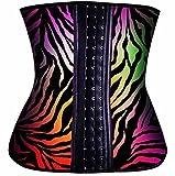 Divine Curves Cintura Entrenador Cincher Deporte Látex Shapewear Fajas Hourglass Figura Pesa Grabación Grasa Quema Mejora la Postura Espalda Apoyo pospartum, XS, Rainbow Zebra