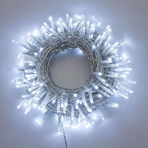 Catena di luci natale 500 led 25 mt serie luminosa natalizie per esterno interno albero cavo filo trasparente con trasformatore 31v (Luce bianca fredda)