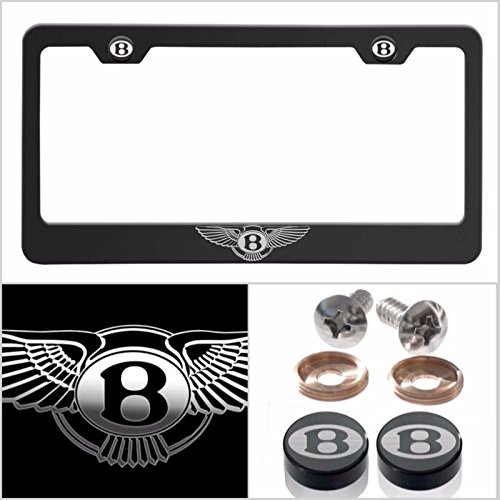 UFRAME Fit Bentley Laser Engraved Logo License Plate Frame Made of Industrial Grade Powder Coated Black Matte Black Stainless Steel w/Caps and Accessories