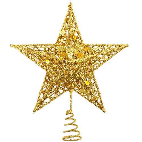 Tupa - Puntale per albero di Natale in metallo glitterato, a forma di stella, cavo, decorazione natalizia per la casa