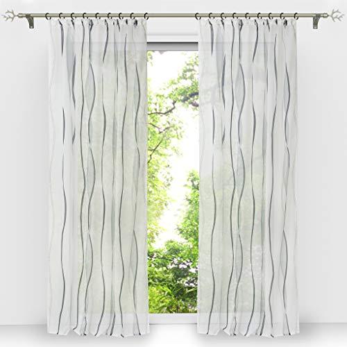 HongYa 1er-Pack Voile Gardine Transparenter Vorhang mit Kräuselband Wellen Druck H/B 145/140 cm Weiß Silber