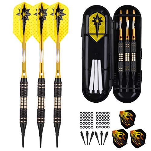 Dardos con punta de plástico de 18 gramos, de dardos profesionales diana electrónica, ejes de aluminio dorado, 6 plumas, 50 anillos de goma antideslizantes, 30 puntas