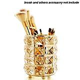 GCDN Pot de Rangement pour pinceaux de Maquillage avec Perles de Cristal, doré, Round